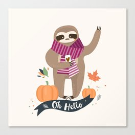 Comfy Sloth for the Fall & Pumpkin Canvas Print