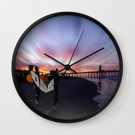 Dawn Patrol Huntington Beach Pier Wall Clock