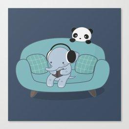 Kawaii Elephant And Panda Canvas Print