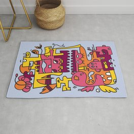 Light Blue Doodle Monster World by Pablo Rodriguez (Pabzoide) Rug