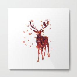 Autumn deer silhouette Metal Print