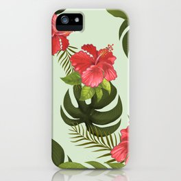 Tropical Pink Hibiscus Floral iPhone Case