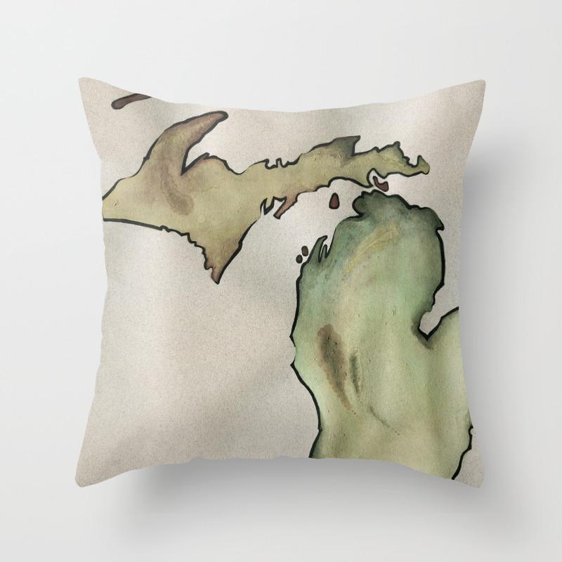 Mily Michigan Throw Pillow By Emilyvalko Society6
