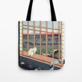 Utagawa Hiroshige Japanese Woodblock Cat Print Tote Bag