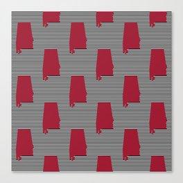 Bama crimson tide college state pattern print university of alabama varsity alumni gifts Canvas Print