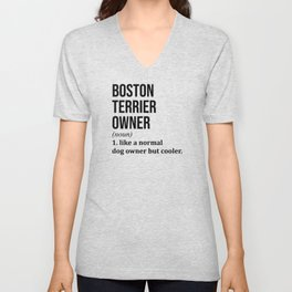 Boston Terrier Dog Funny Unisex V-Neck