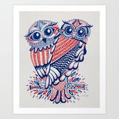Owls – Red & Navy Art Print