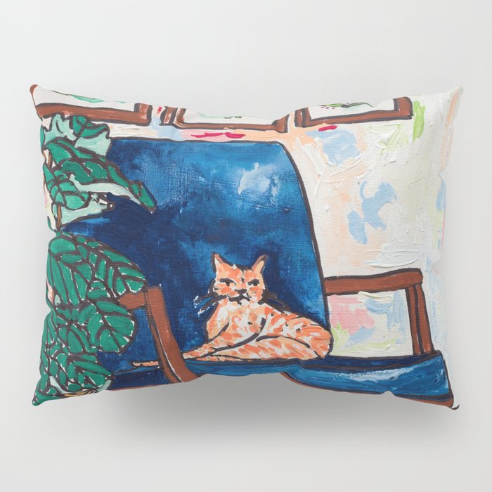 Ginger Cat on Blue Mid Century Chair Painting Pillow Sham