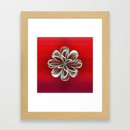 Cyan Bloom on Red Framed Art Print