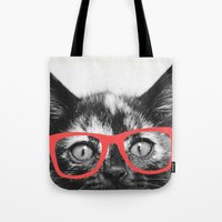 sassy Tote Bags featuring Sassy Kitten by Allyson Johnson