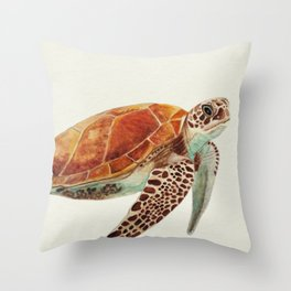 Turtle Watercolor Throw Pillow