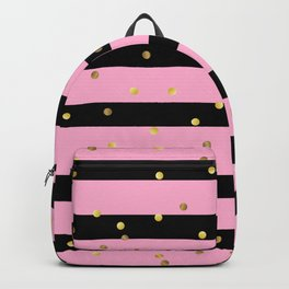 Christmas Golden confetti on Black and Pink Stripes Backpack