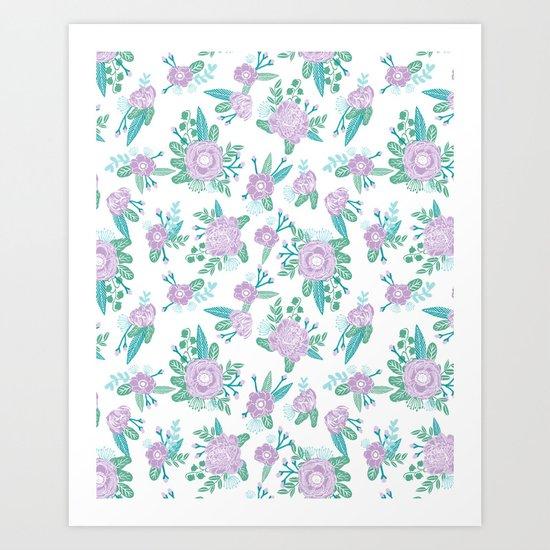 Floral bouquet pastel mint lilac florals painted painted pattern basic minimal pattern print Art Print