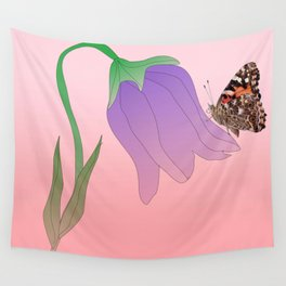 Tulip with butterfly Wall Tapestry