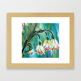 Drips on droopy flowers Framed Art Print