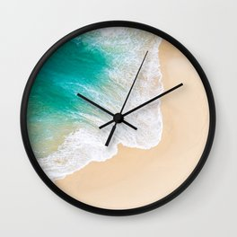 Sand Beach - Waves - Drone View Photography Wall Clock