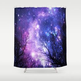 Black Trees Purple Blue Space Shower Curtain