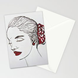 woman and red Stationery Cards