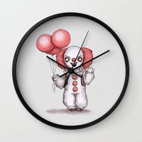 pennywise Wall Clocks featuring They All Float Down Here by Ludwig Van Bacon