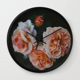 Coral Roses Wall Clock