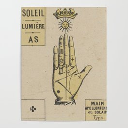 Vintage French Sun Tarot Card Poster