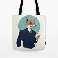 mr fox Tote Bags featuring Mr. Fox by FAMOUS WHEN DEAD