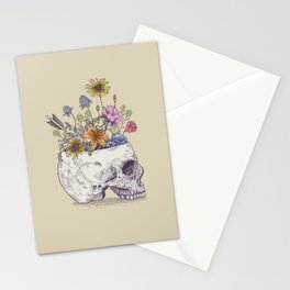 Half Skull Flowers Stationery Cards