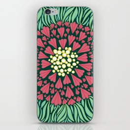 Pink and green florals iPhone Skin