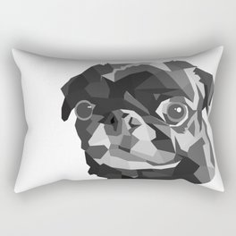 Pug Geometric art Black pugs Dog portrait Pet Rectangular Pillow