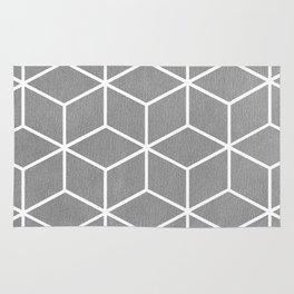 Light Grey and White - Geometric Textured Cube Design Rug