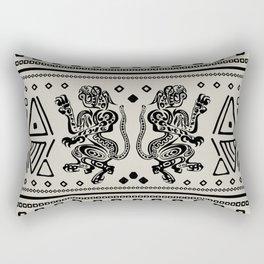 Aztec Jaguars and Ornaments - Black Rectangular Pillow