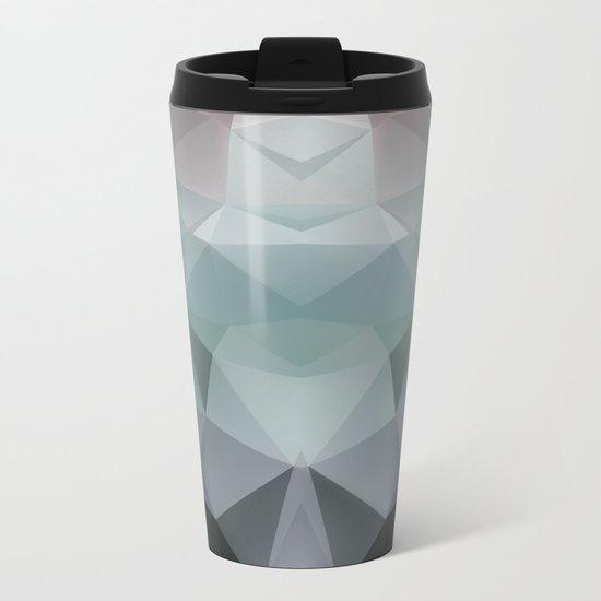 Abstract geometric polygonal pattern in grey and green tones . Metal Travel Mug