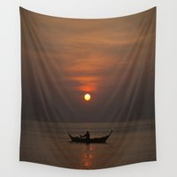sunset Wall Tapestries featuring Sunset by Maria Heyens
