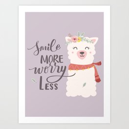 SMILE MORE, WORRY LESS! - Sweet lavender quote Art Print