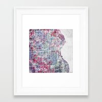 milwaukee Framed Art Prints featuring Milwaukee map by MapMapMaps.Watercolors
