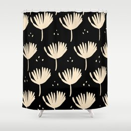 Leaves in black and ivory Shower Curtain