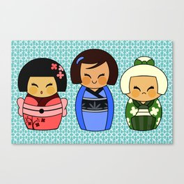 kokeshis (Japanese dolls) Canvas Print