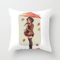 laia Throw Pillows featuring Autumn by Laia™