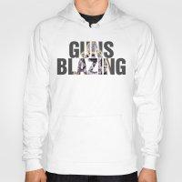 guns Hoodies featuring Guns Blazing by DeMoose_Art