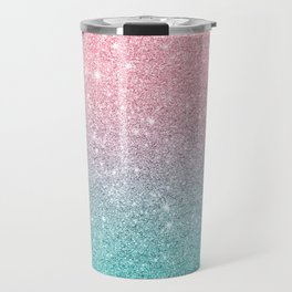 Salmon Pink To Turquoise-Blue Sparkling Glitter Travel Mug