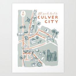 Culver City in Los Angeles County California Doodle Map Art Print