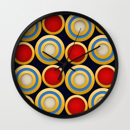 Elegant  Pattern, Striking Gold Rings with Red,Blue, Beige and Dark Blue Beckground Wall Clock