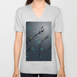 Nightingale singing in the night sky under the moonlight Unisex V-Neck