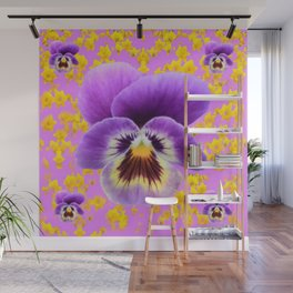LILAC  PANSY SPRING DAFFODILS ART Wall Mural