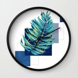 flying leaf on blue Wall Clock