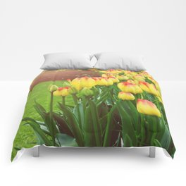 Yellow Red Tulips Comforters
