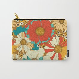 Red, Orange, Turquoise & Brown Retro Floral Pattern Carry-All Pouch