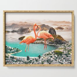 Collage, Flamingo, City, Creative, Nature, Modern, Trendy, Wall art Serving Tray