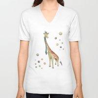 giraffe V-neck T-shirts featuring Giraffe by Catru