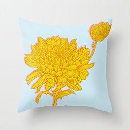 Chysanthemum in Saffron Throw Pillow